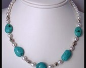 Turquoise Freshwater Pearl Sterling Silver Necklace
