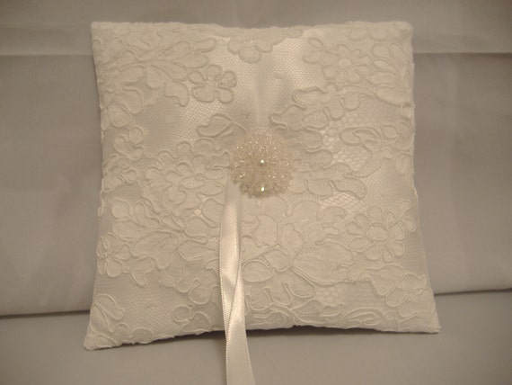 White Ring Bearer Pillow with Vintage French Alencon Lace Beaded Center READY TO SHIP