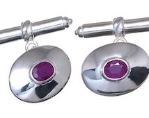 Ruby Cufflinks Regnas Genuine Gemstone Sterling Silver 925
