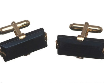 Onyx Rectangular Gothic Cuff Links Gold Plated Sterling Silver 925