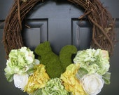 Moss Squirrel Peony Wreath