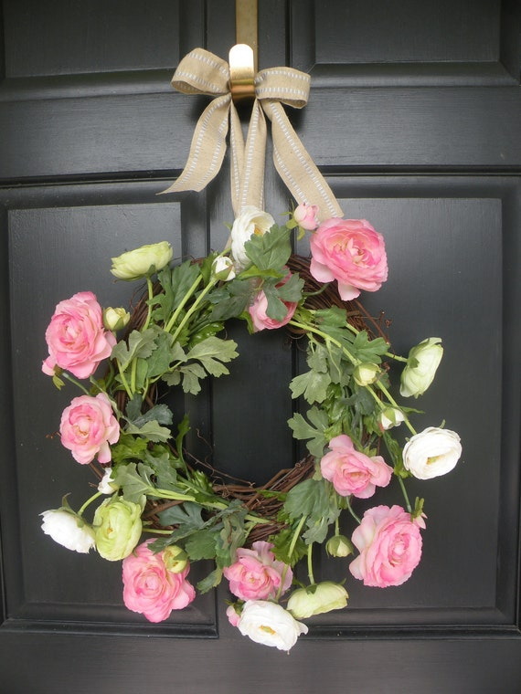 Pink, Green, and White Ranunculus Spring and Summer Wreath - SALE