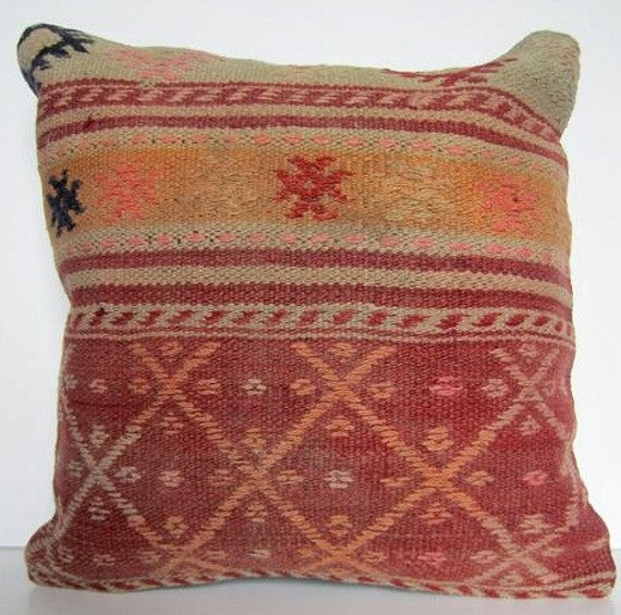 SALE/ Vintage Turkish Handwoven Kilim Pillow Cover, 16x16