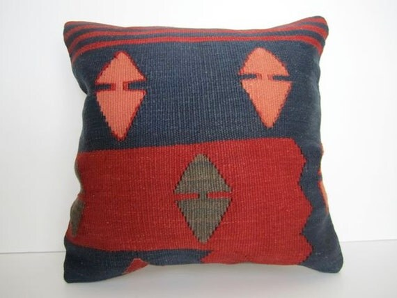 Vintage Turkish Handwoven Kilim Pillow Cover, 16x16 - Free shipping-Delivered in 2-3 days with tracking number