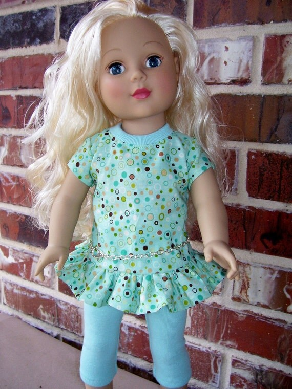 18 Inch Doll Clothes- Aqua Dress with chain belt and Leggings