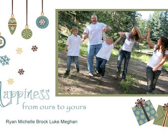 Happiness from ours to yours Christmas Holiday Photo Card or Invitation  - You Print