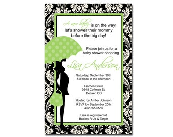 Black Damask Green Blue PInk Yellow  Baby Shower Invitation Card  - Any Color
