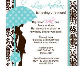 Brown Damask Sprinkle Blue Baby Shower Invitation Card  - Any Color