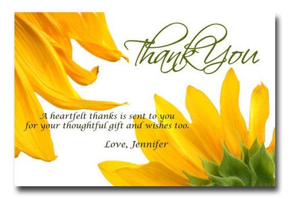 Custom Sunflower or Bridal or BabyShower Birthday Party Thank You Invitation Card