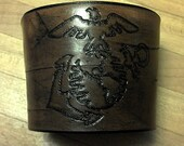 Coffee Leatherneck.  USMC leather coffee cup cozy.
