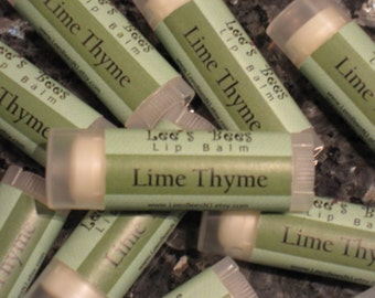 Lip Balm - Lime Thyme, One Tube All Natural Beeswax Lip Salve Chapstick from Lee the Beekeeper