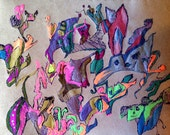 Untitled - Colorful, Lowbrow, Psychedelic Original Drawing 8.5''x11.5''