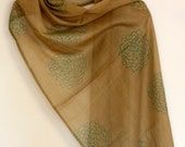 Hand block printed teal floral motif on tan cotton scarf/shawl