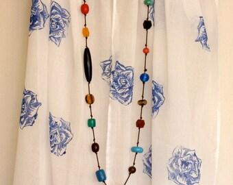 Rose blue block printed cotton scarf/shawl