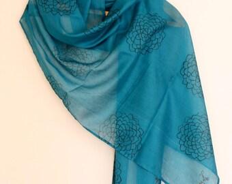 Black floral motif jade block printed cotton scarf/shawl
