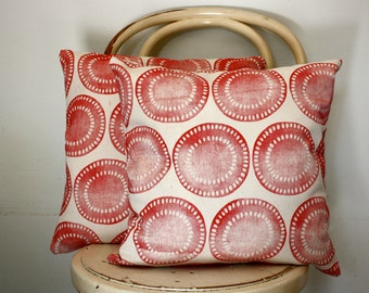 Block printed Red African motif scatter cushion cover
