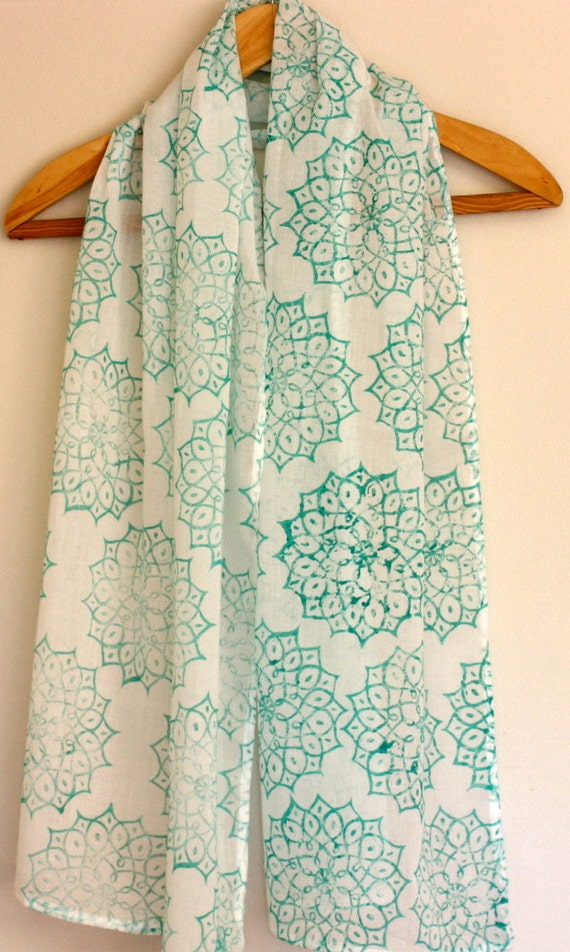 Jade african block printed cotton scarf/shawl