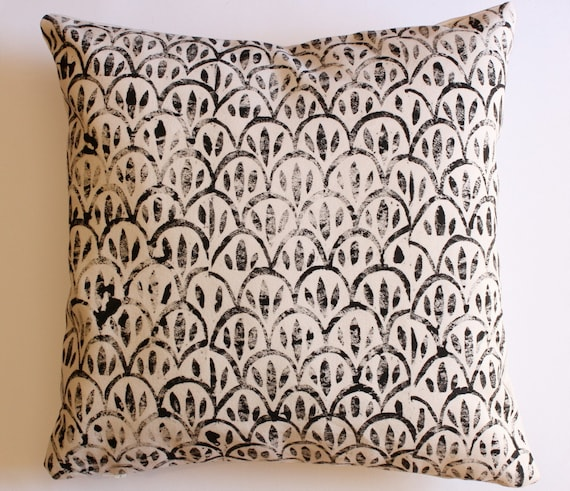 African block printed cotton scatter cushion cover
