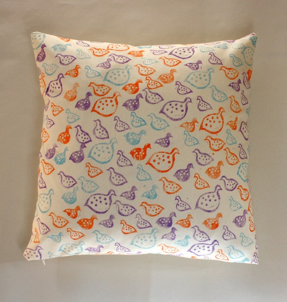 Block printed Purple, Persimmon and Teal Guinea Fowl scatter cushion cover