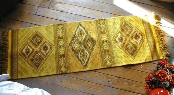 Yellow Zapotec / Oaxacan Rug Floor Runner Evil Eye Protect
