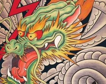 Japanese Dragon Fine Art Print 8X10 lightning clouds wind tattoo art mystical