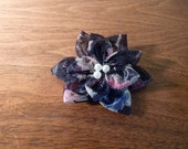 Pearle - Navy and Floral Tulle Hair Bow