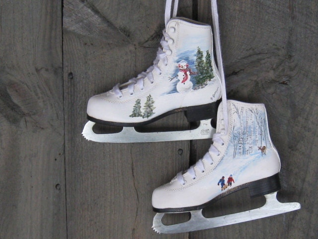Hand Painted Ice Skates Upcycled