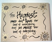Hand-painted Happiness quote on 11x14 stretched canvas