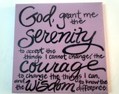 Serenity Prayer hand-painted on 12x12 stretched canvas