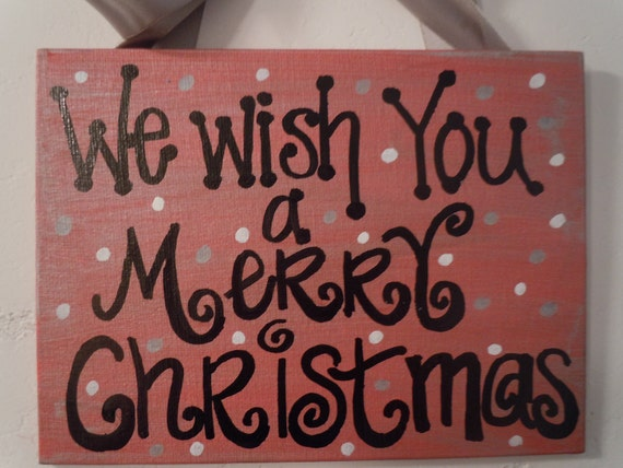 Holiday clearance--hand-painted 6x8 Christmas canvas