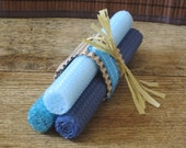Shades of Blue - 3 Handmade Beeswax Taper Candles
