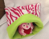 White, Pink and Lime Green Zebra Flannel Snuggle Bag