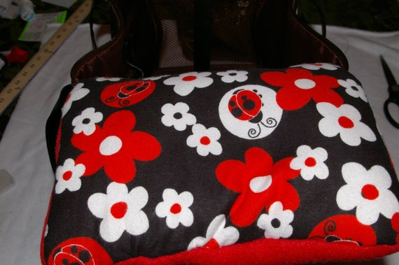 Pet Carrier Pillow Liner - Red and Black Ladybugs