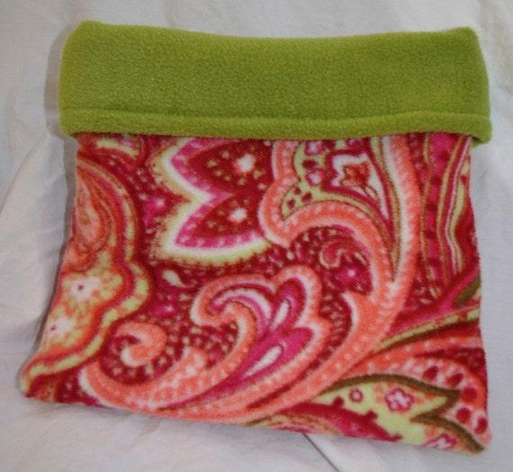 Green Red Paisley Print Fleece Snuggle Bag