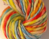 Rainbows end - Hand spun yarn . Hand painted pure Australian merino 19 micron - 70s. Superwash. Rainbow colours.