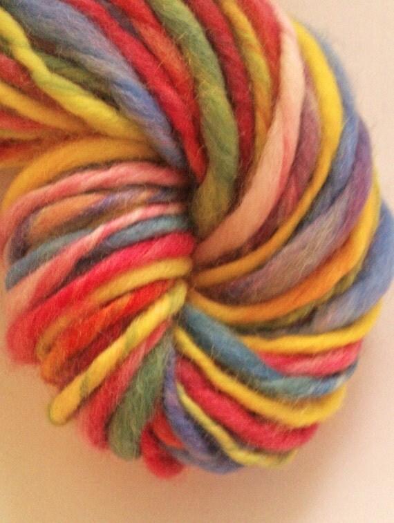 Bright rainbow chunky spun fun. Handspun art yarn.  Hand dyed and hand spun Pure Australian 21 micron merino.