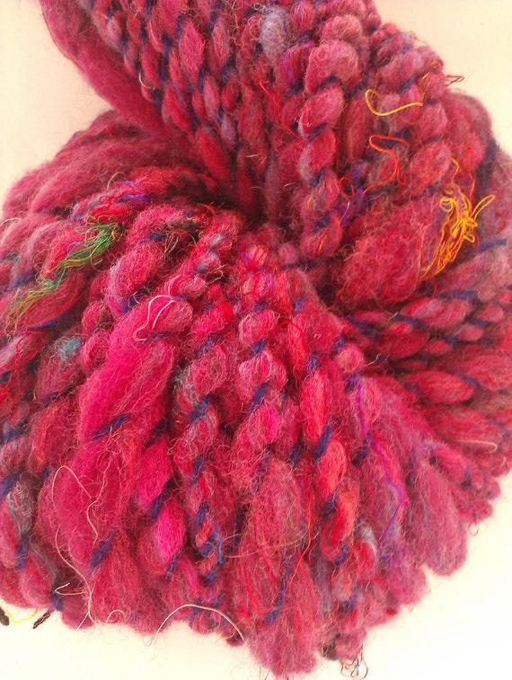 Mulberry jumble - Bulky Art skein merino with sari silks . Hand spun, hand dyed  yarn. Australian merino with sari silk.