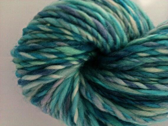 Pebbly Beach - 2 ply art yarn. hand dyed and hand spun. Beachy blues, sand and limestone. Superwash merino