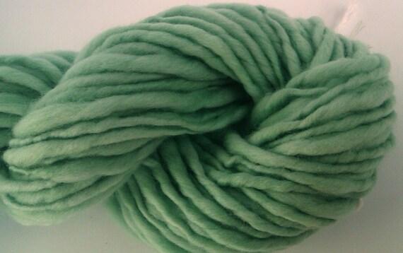 Softly sage -  Chunky  hand spun, hand painted art yarn. Pure Australian 21 micron merino wool.