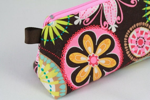 Knitting Notions pouch, pencil bag or make up bag. Modern Carnival Bloom fabric