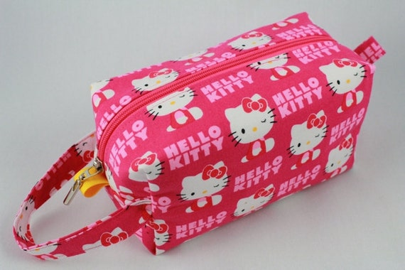 Knitting Boxy pouch, crochet project bag, Sock Bag or small project pouch. Hello Kitty hot pink fabric