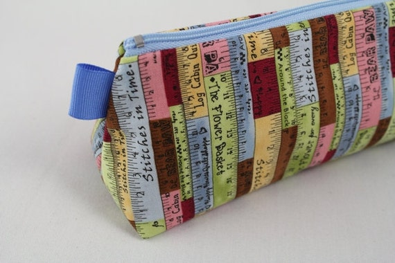 Knitting Notions pouch, pencil bag or make up and cosmetic bag. Quilter's tape fabric