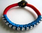 Bright Rhinestone Bracelet: Red, Burnt Orange, Blue