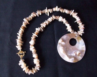 Tan Shell and Mother of Pearl Necklace