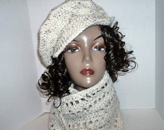 Womens Aran Fleck hat and scarf set