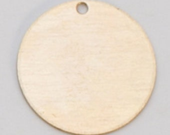"""Brass Circle with Hole .5 in or 1/2""""  24ga PKG of 6 Great Stamping Accessory"""
