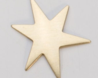 """Brass Funky Star 6 pointed 1-1/8""""  24ga PKG of 6 Great Stamping Accessory"""
