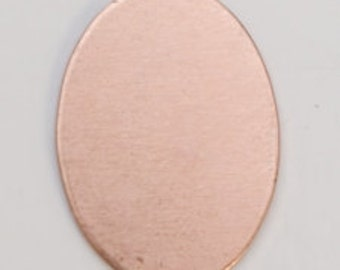 Copper Oval 18mm by 13mm  24ga Package of 6 Great Stamping Accessory