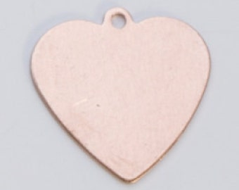 """Copper Heart with Ring 5/8"""" by 5/8""""  24ga PKG of 6 Great Stamping Accessory"""