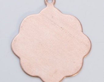 """Copper Medallion with Ring 13/16""""  24ga PKG of 6 Great Stamping Accessory"""